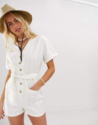 Asos Design DESIGN kimono sleeve button through soft denim romper with belt
