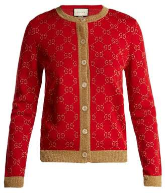Gucci Gg Jacquard Knit Cotton Blend Cardigan - Womens - Red