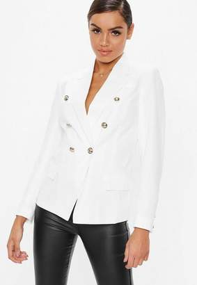 Missguided White Military Blazer, White