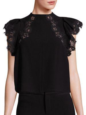 Rebecca Taylor Crepe Lace Inset Mockneck Top $325 thestylecure.com