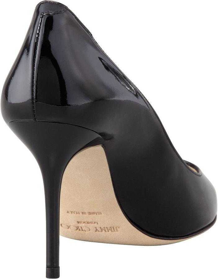 Jimmy Choo Agnes Pointed-Toe Patent Pump, Black