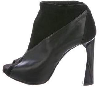 Pierre Hardy Leather Peep-Toe Ankle Boots Black Leather Peep-Toe Ankle Boots