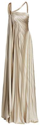 Oscar de la Renta Asymmetric Chain Strap Column Gown