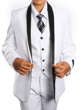 Tazio Solid Satin Shawl Collar 1 Button Vested Boys Suit 5 Piece