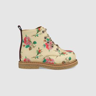 Gucci Toddler rose Supreme lace-up boot