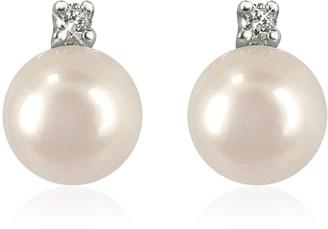 Forzieri 0.07ct Diamond and Pearl 18k Gold Earrings