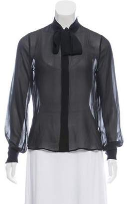 Rachel Zoe Semi-Sheer Button-Up Blouse