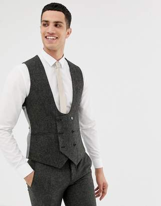 Twisted Tailor super skinny vest in charcoal donegal tweed