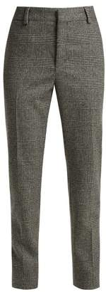 Saint Laurent Prince Of Wales Check Wool Trousers - Womens - Black Grey