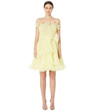 Marchesa Strapless Pleated Cocktail Dress