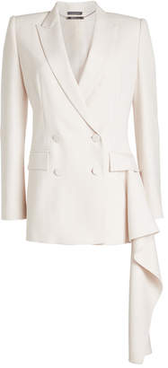 Alexander McQueen Handkerchief Hem Blazer with Wool and Silk
