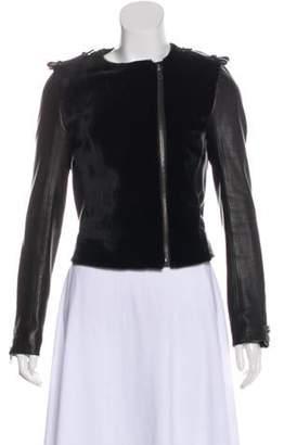 A.L.C. Leather Kangaroo Fur Jacket Black Leather Kangaroo Fur Jacket