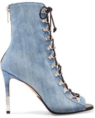 Balmain Club Lace-up Denim Ankle Boots - Mid denim