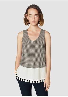 Derek Lam 10 Crosby Striped Tassel-Trimmed Cotton Linen Tank