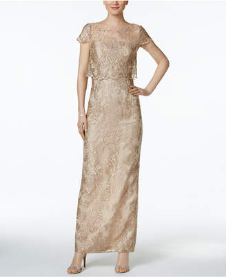 Adrianna Papell Petite Embroidered Mesh Popover Gown