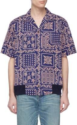 Sacai x Reyn Spooner floral print ribbed hem shirt