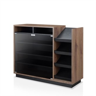 Furniture of America Ryland Contemporary Two-Toned Distressed Black Glass Door Shoe Cabinet