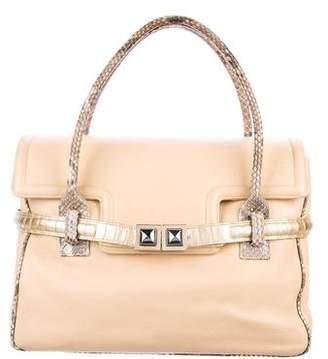 Kara Ross Snakeskin & Eel-Trimmed Flap Bag