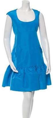 Oscar de la Renta Cap Sleeve Flounce Dress