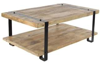 DecMode Decmode Industrial Mango Wood and Iron Coffee Table, Natural Brown