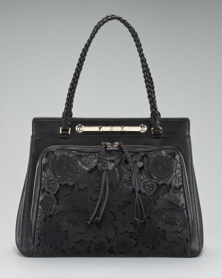 Valentino Demetra Leather-Lace Bag