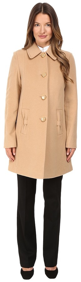 Kate SpadeKate Spade New York - 4-Button A-Line Single Breasted Coat w/ Bow Pockets Women's Coat
