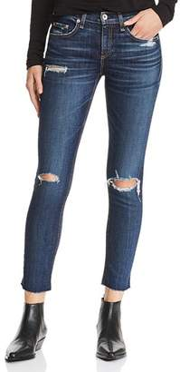 Rag & Bone Distressed Ankle Skinny Jeans in Franklin with Holes