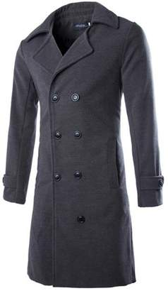 Allonly Men's Classic Wool Blend Double Breasted Pea Coat Trenchcoat Overcoat