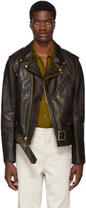 Schott Brown Hand Oiled Naked Leather Perfecto Motorcycle Jacket