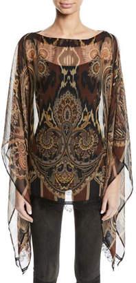 Etro Damask-Print Sheer Silk Poncho w/ Lace Hem