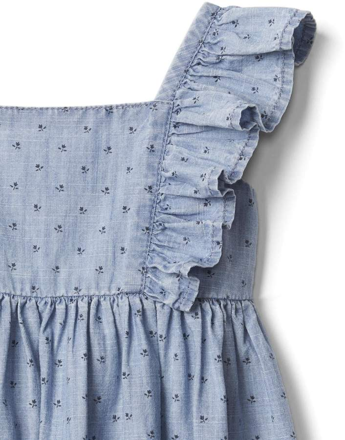 Floral chambray flutter dress 2