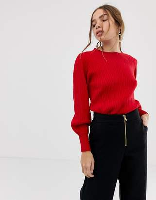 Selected balloon sleeve knitted jumper