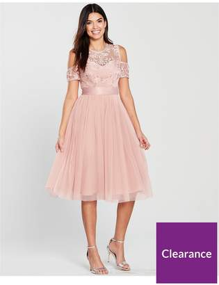 Very Bridesmaid Cold Shoulder Prom Dress - Blush