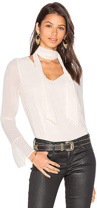 Line & Dot Rima Scarf Blouse in White $66 thestylecure.com