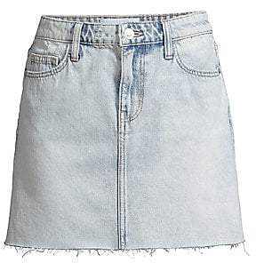 81bd890113 Current/Elliott Women's Raw-Edge Denim Mini Skirt