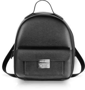 Emporio Armani Black Smooth Leather Medium Backpack