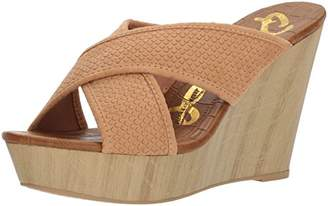 Qupid Women's x-Band Slide in Wedge Sandal