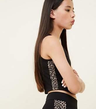 New Look Teens Black Leopard Side Stripe Vest