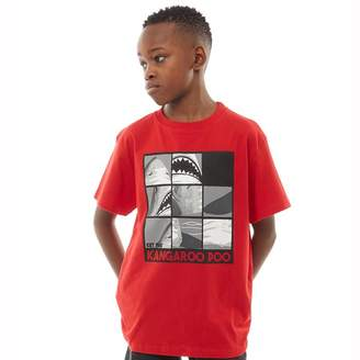 Kangaroo Poo Boys Shark Puzzle Print T-Shirt Red