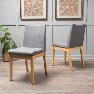 Noble House Roosevelt Dark Grey Fabric with Oak Dining Chairs (Set of 2)