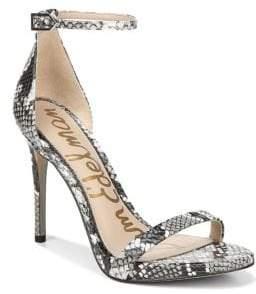 Sam Edelman Ariella Leather Snake-Print Stiletto Sandals