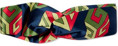 GucciGucci - Twisted Printed Silk-satin Headband - Navy