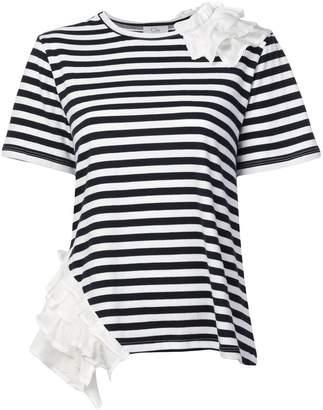 Clu ruffled detail striped T-shirt