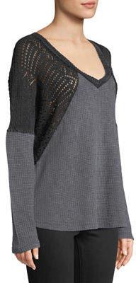 XCVI Fatine Long-Sleeve Mixed-Knit Top