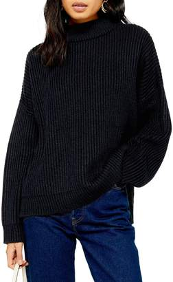 Topshop Knitted Funnel Neck Sweater