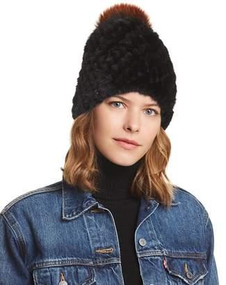 Jocelyn Fox Fur Pom-Pom & Knit Mink Fur Beanie