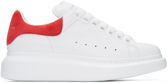 Alexander McQueen White & Red Oversized Sneakers $575 thestylecure.com