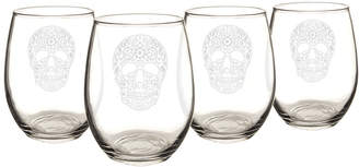 Cathy's Concepts Cathys Concepts Set Of 4 Sugar Skull 21Oz Stemless Wine Glasses