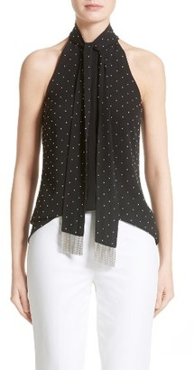Women's Michael Kors Chain Fringe Silk Georgette Halter Top $725 thestylecure.com