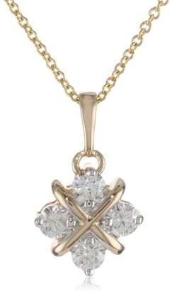 14k Gold Diamond Hugs and Kisses Pendant Necklace (.38 cttw